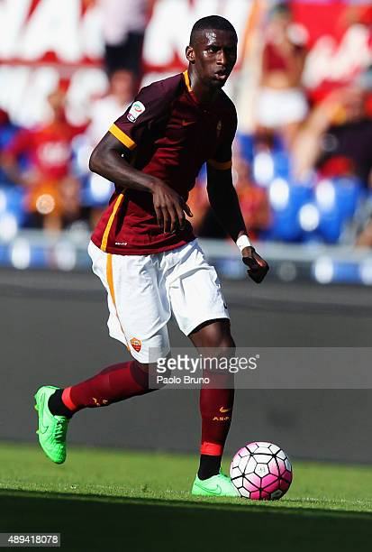 Antonio Rudiger of AS Roma in action during the Serie A match between AS Roma and US Sassuolo Calcio at Stadio Olimpico on September 20 2015 in Rome...