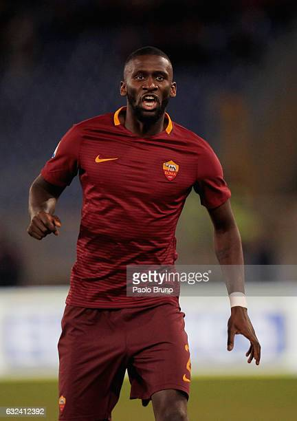Antonio Rudiger of AS Roma reacts during the Serie A match between AS Roma and Cagliari Calcio at Stadio Olimpico on January 22 2017 in Rome Italy