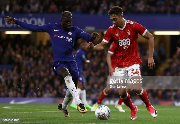 Antonio Rudiger of Chelsea and Tyler Walker of Nottingham Forest battle for possession during the Carabao Cup Third Round match between Chelsea and...