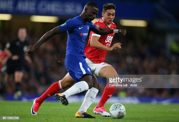 Antonio Rudiger of Chelsea and Tyler Walker of Nottingham Forest during the Carabao Cup Third Round match between Chelsea and Nottingham Forest at...