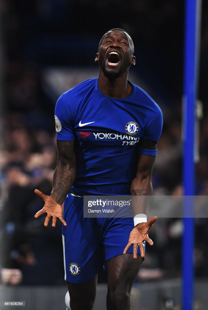 Antonio Rudiger of Chelsea celebrates after scoring his sides first goal during the Premier League match between Chelsea and Swansea City at Stamford Bridge on November 29, 2017 in London, England.