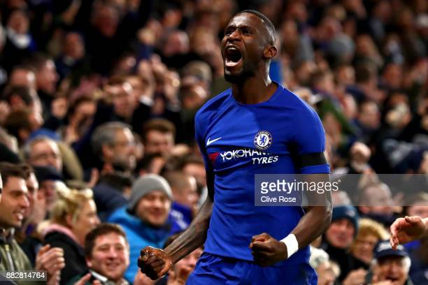 Antonio Rudiger of Chelsea celebrates after scoring his sides second goal during the Premier League match between Chelsea and Swansea City at...