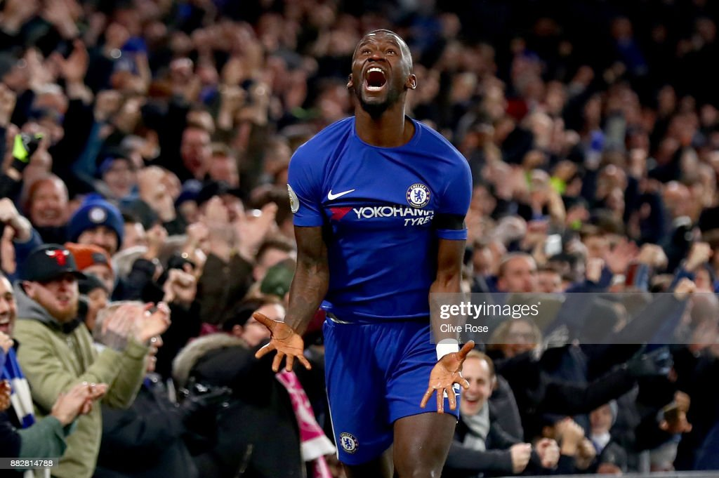 Antonio Rudiger of Chelsea celebrates after scoring his sides second goal during the Premier League match between Chelsea and Swansea City at Stamford Bridge on November 29, 2017 in London, England