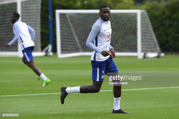 Antonio Rudiger of Chelsea during a training session at Chelsea Training Ground on August 4 2017 in Cobham England