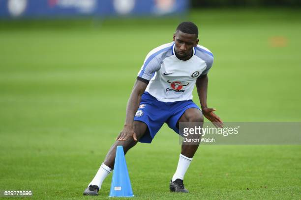 Antonio Rudiger of Chelsea during a training session at Chelsea Training Ground on August 10 2017 in Cobham England