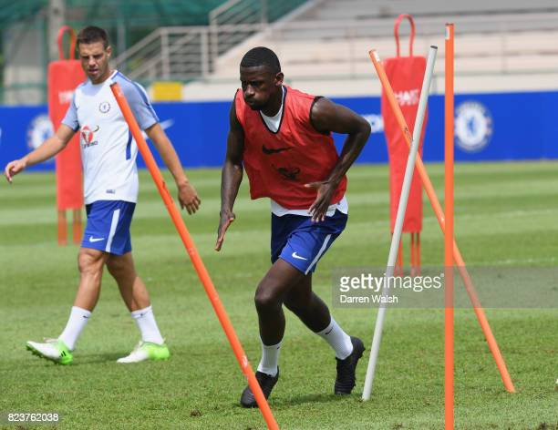 Antonio Rudiger of Chelsea during a training session at Singapore American School on July 28 2017 in Singapore