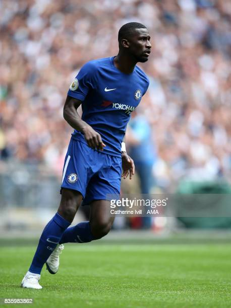 Antonio Rudiger of Chelsea during the Premier League match between Tottenham Hotspur and Chelsea at Wembley Stadium on August 20 2017 in London...