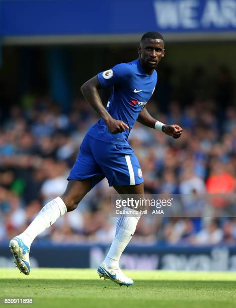 Antonio Rudiger of Chelsea during the Premier League match between Chelsea and Everton at Stamford Bridge on August 27 2017 in London England