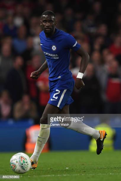 Antonio Rudiger of Chelsea in action during the Carabao Cup Third Round match between Chelsea and Nottingham Forest at Stamford Bridge on September...
