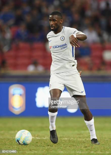 Antonio Rudiger of Chelsea in action during the International Champions Cup match between FC Internazionale and Chelsea FC at National Stadium on...