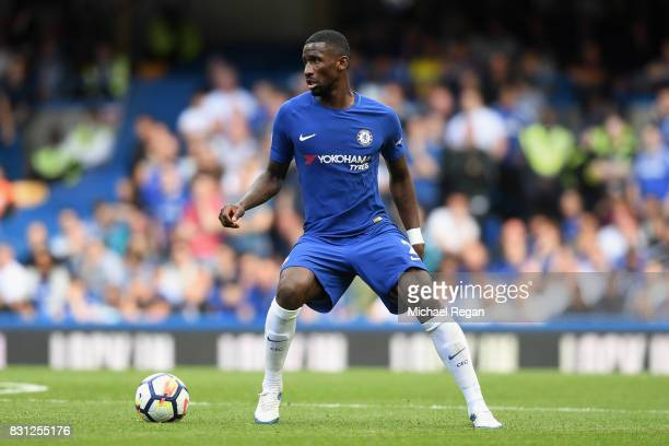 Antonio Rudiger of Chelsea in action during the Premier League match between Chelsea and Burnley at Stamford Bridge on August 12 2017 in London...