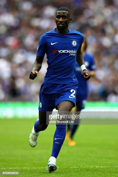 Antonio Rudiger of Chelsea in action during the Premier League match between Tottenham Hotspur and Chelsea at Wembley Stadium on August 20 2017 in...