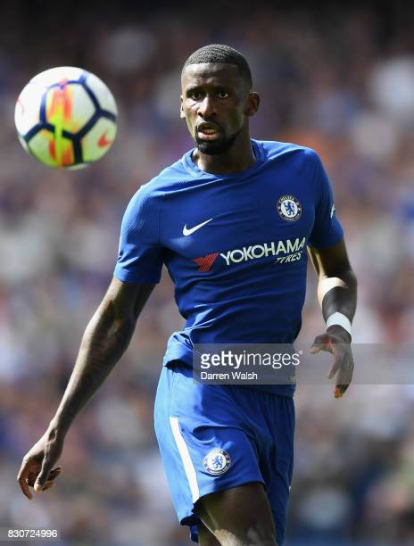 Antonio Rudiger of Chelsea looks on during the Premier League match between Chelsea and Burnley at Stamford Bridge on August 12 2017 in London England