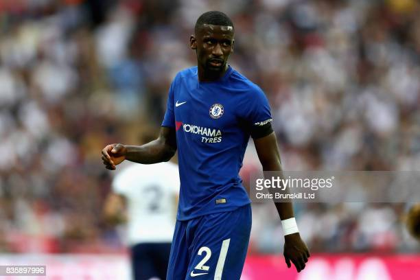 Antonio Rudiger of Chelsea looks on during the Premier League match between Tottenham Hotspur and Chelsea at Wembley Stadium on August 20 2017 in...