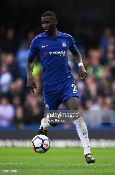 Antonio Rudiger of Chelsea runs with the ball during the Premier League match between Chelsea and Watford at Stamford Bridge on October 21 2017 in...