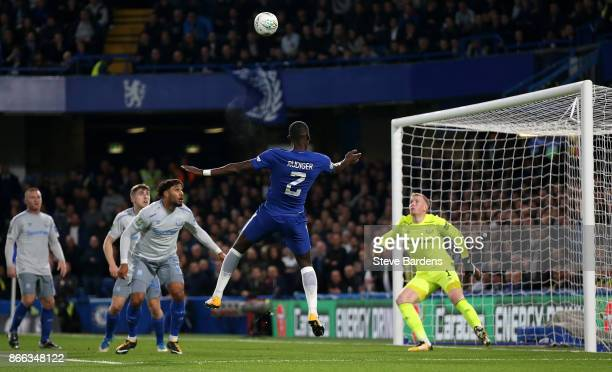 Antonio Rudiger of Chelsea scores his sides first goal during the Carabao Cup Fourth Round match between Chelsea and Everton at Stamford Bridge on...