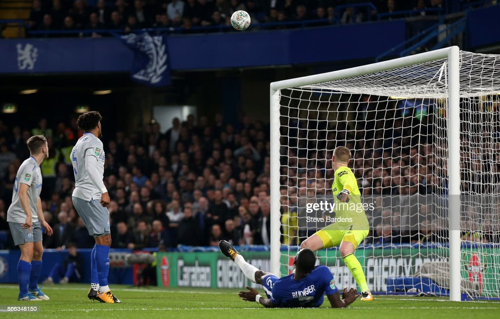 Antonio Rudiger of Chelsea scores his sides first goal during the Carabao Cup Fourth Round match between Chelsea and Everton at Stamford Bridge on October 25, 2017 in London, England.