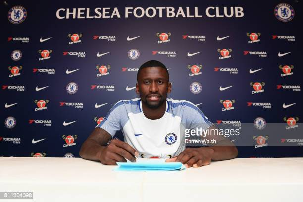 Antonio Rudiger of Chelsea signs his 5 year contract at Chelsea Training Ground on July 9 2017 in Cobham England