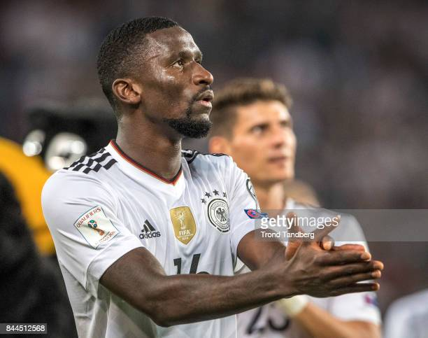 Antonio Rudiger of Germany after the FIFA 2018 World Cup Qualifier between Germany and Norway at MercedesBenz Arena on September 4 2017 in Stuttgart...