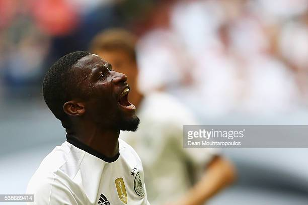 Antonio Rudiger of Germany reacts after a missed chance on goal during the international friendly match between Germany and Hungary at VeltinsArena...