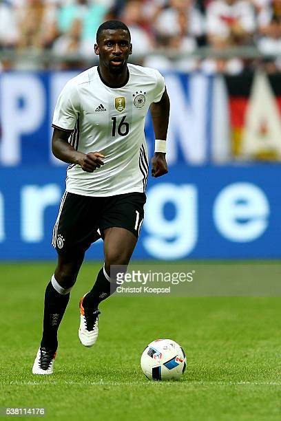 Antonio Rudiger of Germany runs with the ball during the International Friendly match between Germany and Hungary at VeltinsArena on June 4 2016 in...