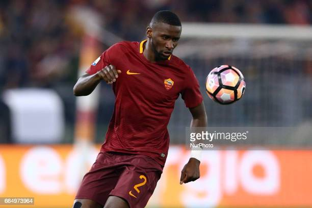 Antonio Rudiger of Roma during the TIM Cup match between AS Roma and SS Lazio at Stadio Olimpico on April 4 2017 in Rome Italy