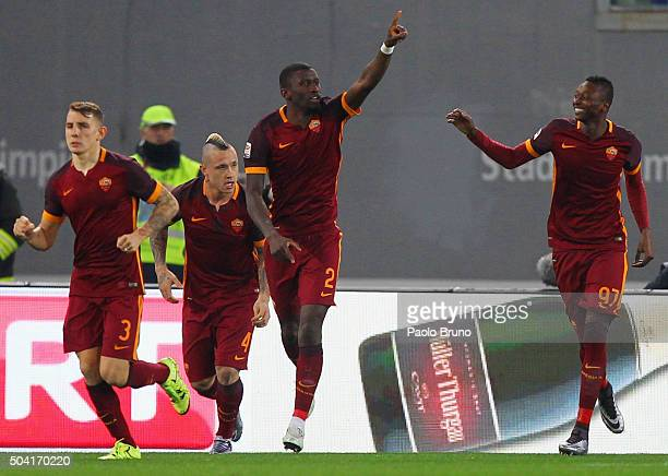 Antonio Rudiger with his teammates of AS Roma celebrates after scoring the opening goal during the Serie A match between AS Roma and AC Milan at...