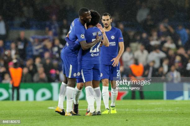 Antonio Ruediger and Willian of Chelsea congratulate each other after winning the UEFA Champions League Group C match between Chelsea FC and Qarabag...