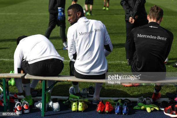 Antonio Ruediger is seen during training of German national team ahead of the FIFA World Cup qualification match 2018 against Azerbaijan on March 24...