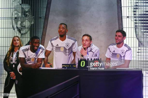 Antonio Ruediger Jerome Boateng and Lars Stindl attend the presentation of the new adidas Germany kit for the 2018 FIFA World Cup Russia at The Base...
