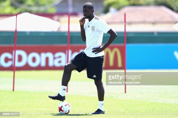 Antonio Ruediger looks on during a team Germany training session at Park Arena training ground on June 17 2017 in Sochi Russia