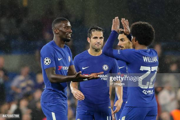 Antonio Ruediger of Chelsea Willian of Chelsea celebrate their win during the UEFA Champions League group C match between Chelsea FC and Qarabag FK...