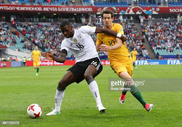 Antonio Ruediger of Germany and Robbie Kruse of Australia battle for possession during the FIFA Confederations Cup Russia 2017 Group B match between...