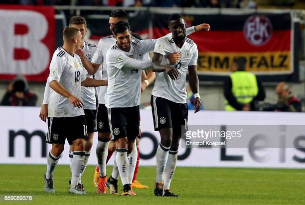 Antonio Ruediger of Germany #cel4 with Emre Can during the FIFA 2018 World Cup Qualifier between Germany and Azerbaijan at FritzWalterStadion on...