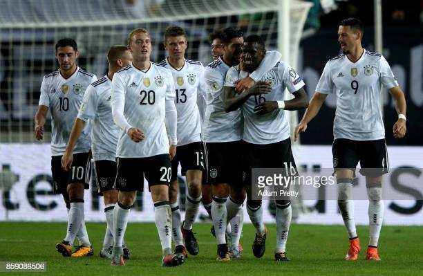 Antonio Ruediger of Germany celebrate with his team mates after he scores the 3rd goal during the FIFA 2018 World Cup Qualifier between Germany and...