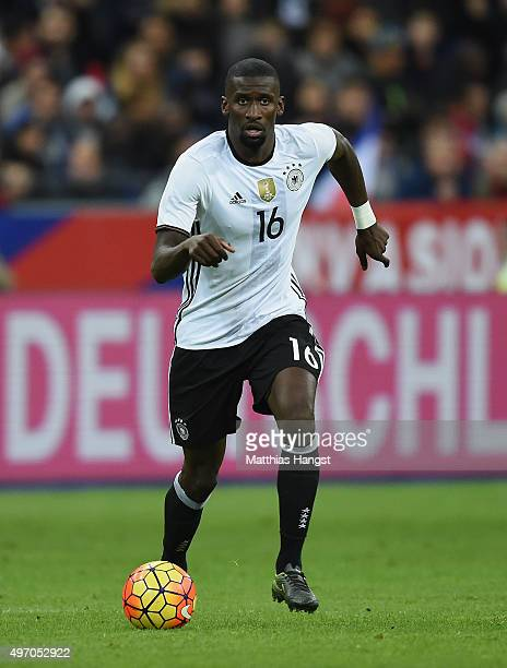 Antonio Ruediger of Germany controls the ball during the International Friendly match between France and Germany at the Stade de France on November...