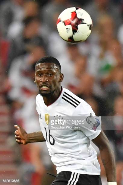 Antonio Ruediger of Germany during the FIFA 2018 World Cup Qualifier between Germany and Norway at MercedesBenz Arena on September 4 2017 in...