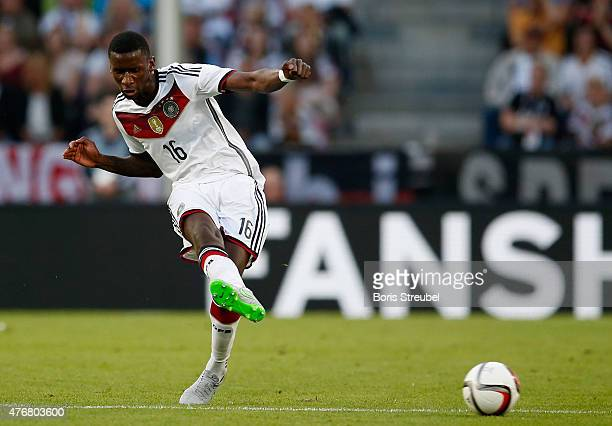 Antonio Ruediger of Germany kicks the ball during the International Friendly match between Germany and USA at RheinEnergieStadion on June 10 2015 in...