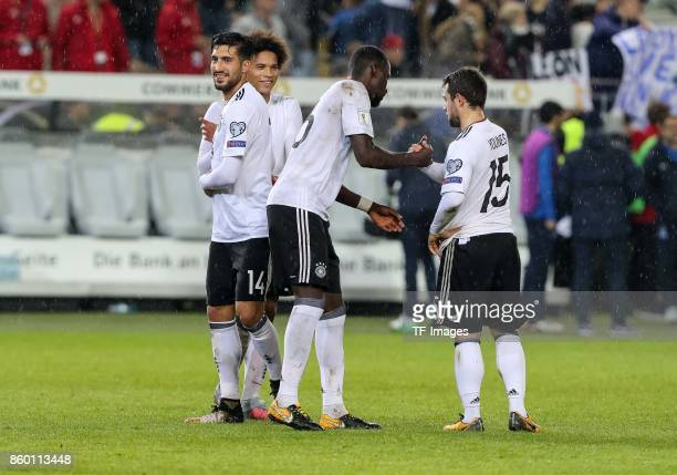 Antonio Ruediger of Germany Leroy Sane of Germany Emre Can of Germany and Amin Younes of Germany celebrate their win during the FIFA 2018 World Cup...