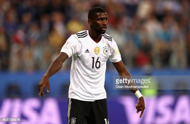 Antonio Ruediger of Germany looks on during the FIFA Confederations Cup Russia 2017 Final between Chile and Germany at Saint Petersburg Stadium on...