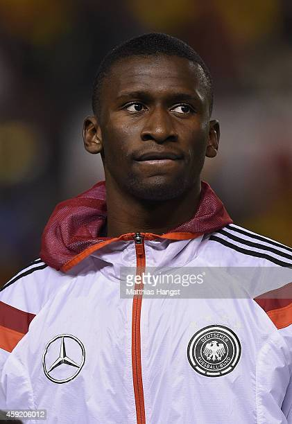 Antonio Ruediger of Germany looks on during the lineup for the International Friendly match between Spain and Germany at Estadio Balaidos on November...