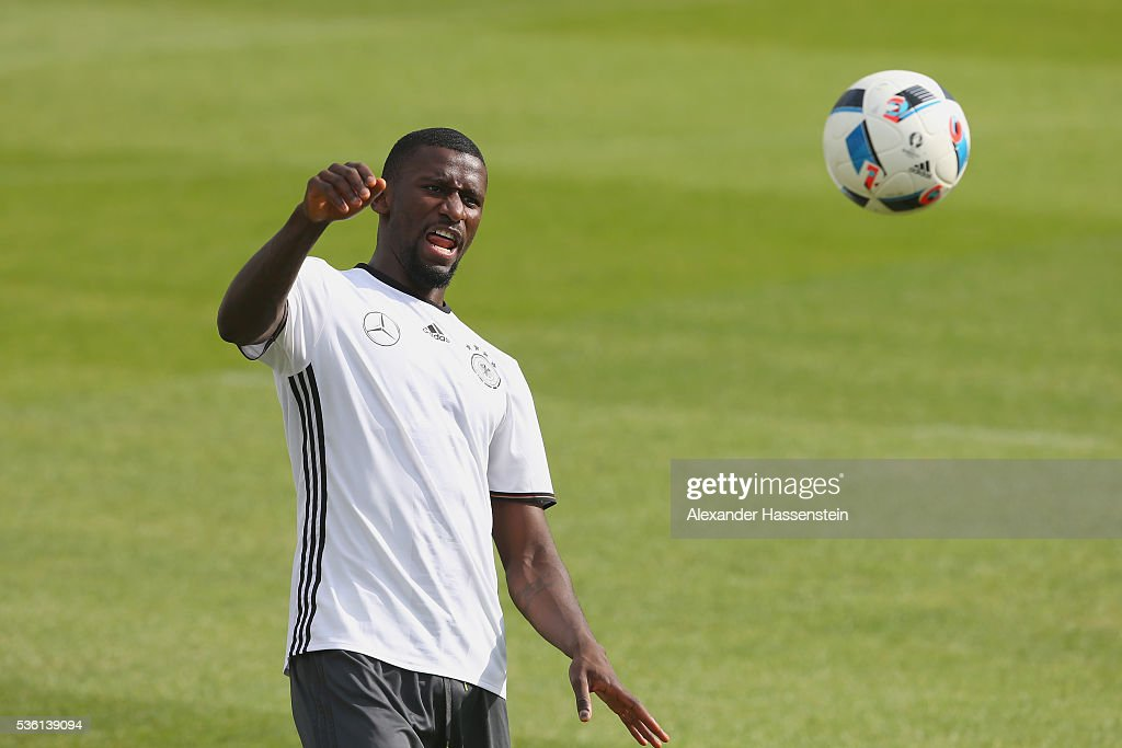 Antonio Ruediger of Germany plays the ball during a training session at Stadio communale on day 8 of the German national team trainings camp on May 31, 2016 in Ascona, Switzerland.