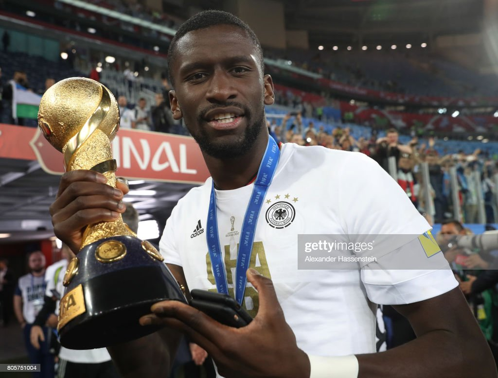 Antonio Ruediger of Germany poses with the trophy after the FIFA Confederations Cup Russia 2017 Final between Chile and Germany at Saint Petersburg Stadium on July 2, 2017 in Saint Petersburg, Russia.