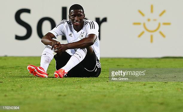 Antonio Ruediger of Germany reacts after the UEFA European U21 Champiosnship Group B match between Germany and Spain at Netanya Stadium on June 9...
