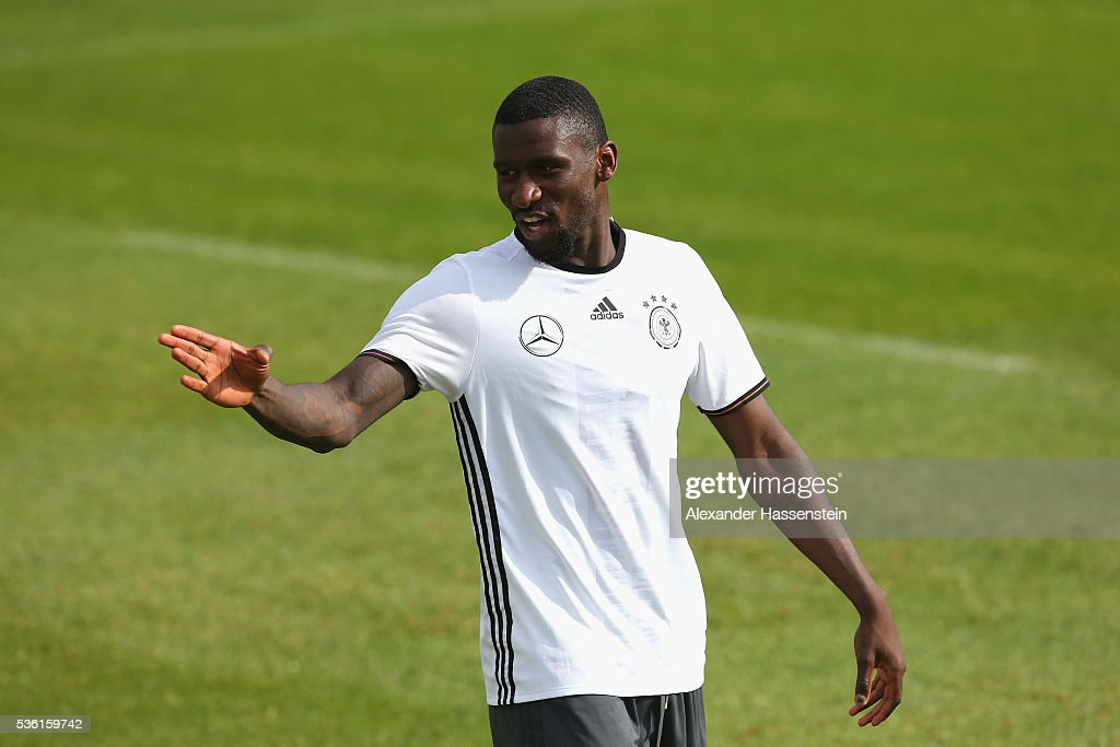 Antonio Ruediger of Germany reacts during a training session at Stadio communale on day 8 of the German national team trainings camp on May 31, 2016 in Ascona, Switzerland.