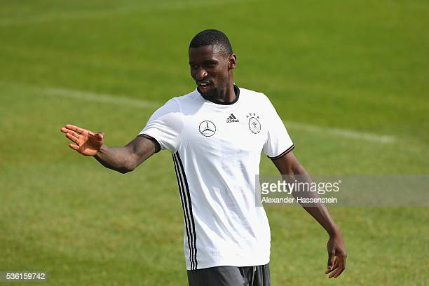Antonio Ruediger of Germany reacts during a training session at Stadio communale on day 8 of the German national team trainings camp on May 31 2016...