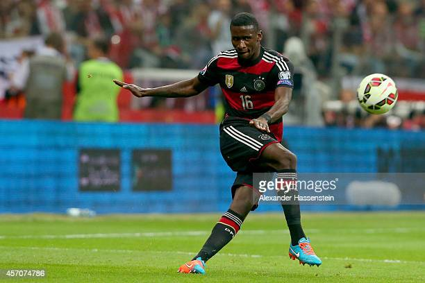 Antonio Ruediger of Germany runs with the ball during the EURO 2016 Group D qualifying match between Poland and Germany at Narodowy Stadium on...