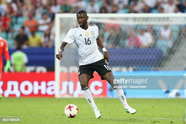 Antonio Ruediger of Germany runs with the ball during the FIFA Confederations Cup Russia 2017 Group B match between Germany and Cameroon at Fisht...