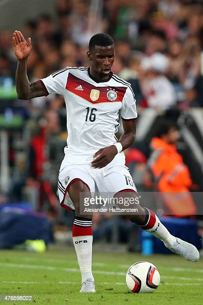 Antonio Ruediger of Germany runs with the ball during the international friendly match between Germany and USA at RheinEnergieStadion on June 10 2015...
