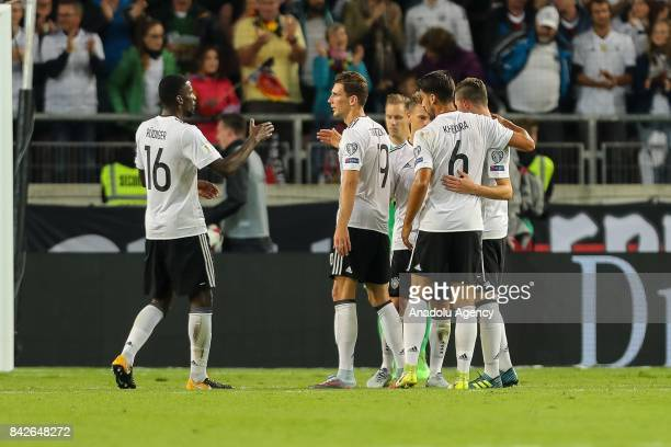 Antonio Ruediger of Germany Sami Khedira of Germany Leon Goretzka of Germany Julian Draxler of Germany embrace after the FIFA 2018 World Cup...